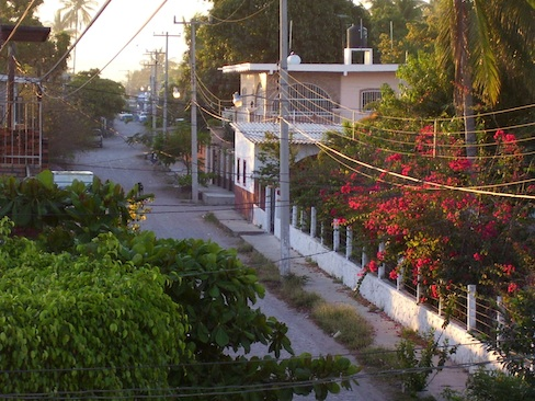 view up San Blas street from veranda