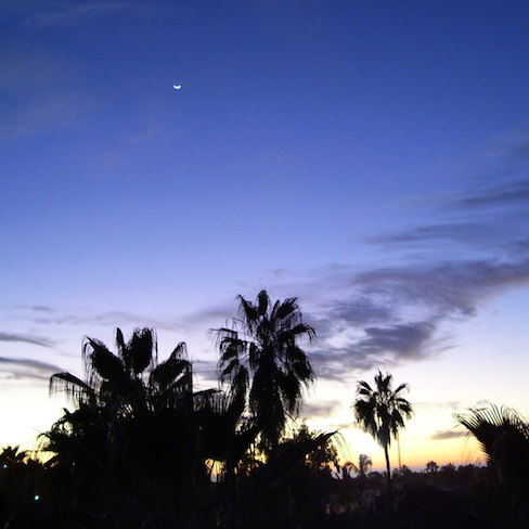 moon and Todos Santos sunset from my roost