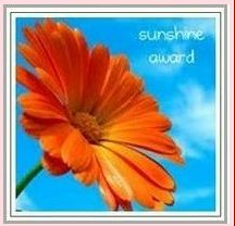 sunshine award, orange flower and blue sky