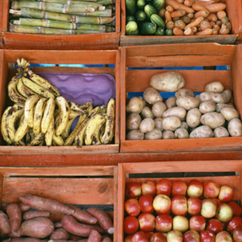 vegetables in wooden bins at Mexican market