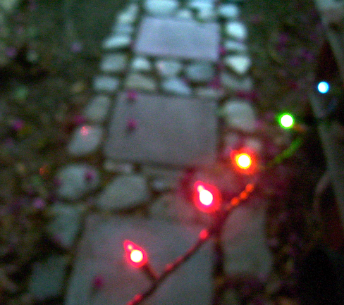 Five colored lights against the stepping stones