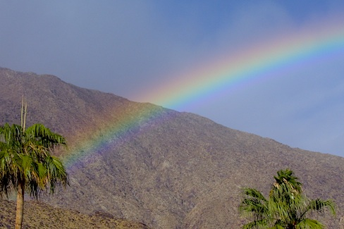 rainbow over the San Jacinto mountains