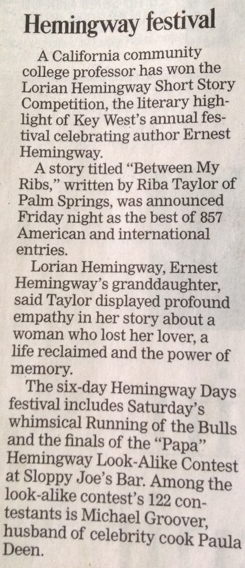 newsclip of my contest win (Lorian Hemmingway Short Story Competition)