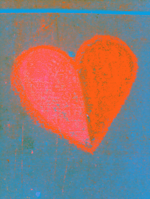 (chalk? pastel?) drawing of a heart, red on blue