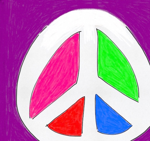 colorful drawing of a peace sign
