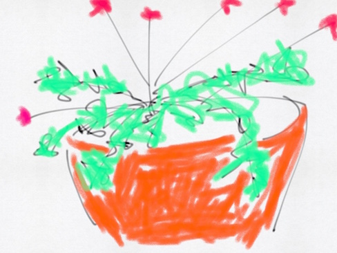 semi-abstract drawing of organge pot with plant and blossoms